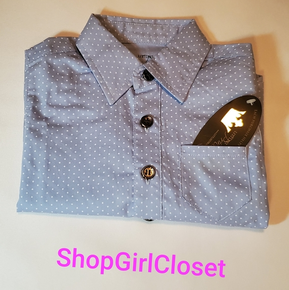 Littlest Prince Couture Blue w/White dots 12M